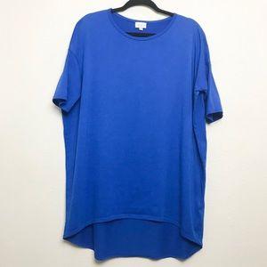 Lularoe Irma Shirt Solid Blue Sz Small